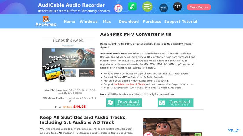AVS4Mac M4V Converter Plus Landing Page
