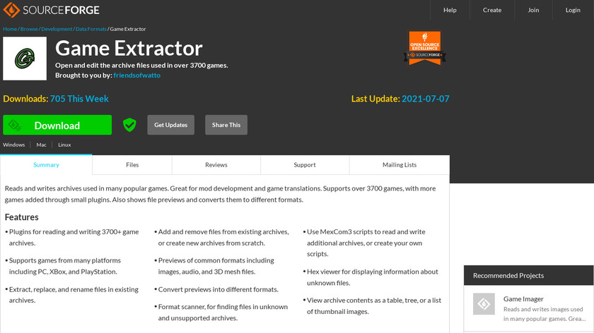 Game Extractor Landing Page