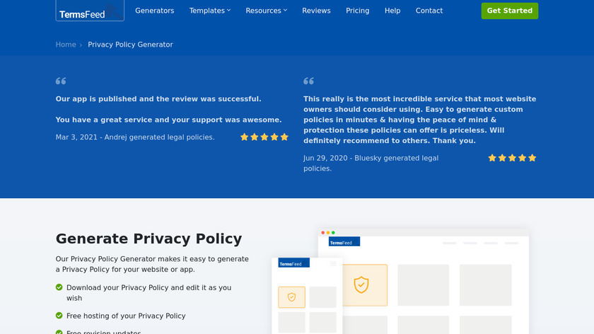 TermsFeed Privacy Policy Generator Landing Page