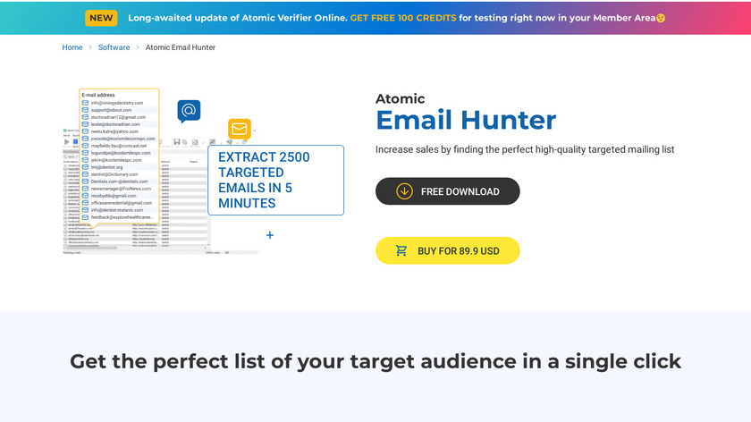 Atomic Email Hunter Landing Page