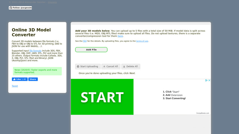 Online 3D Model Converter Landing Page