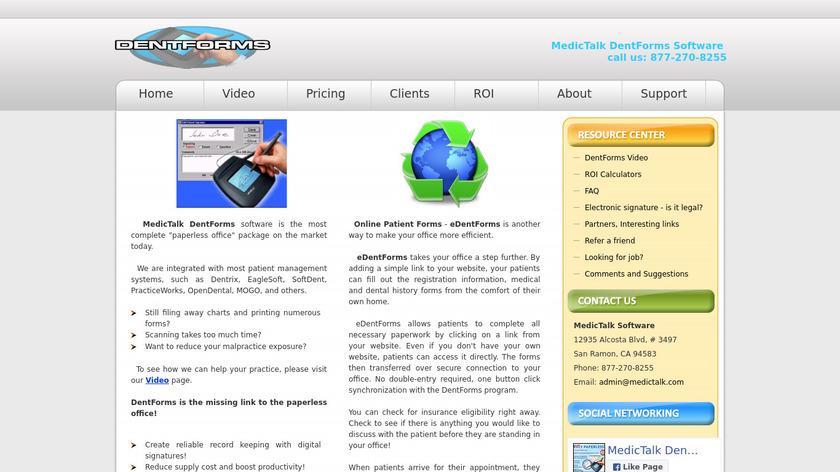 MedicTalk DentForms Landing Page