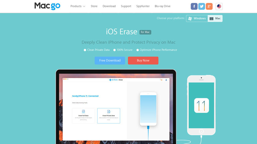 Macgo iPhone Cleaner Landing Page