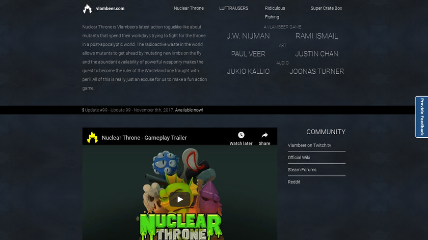 Nuclear Throne Landing Page