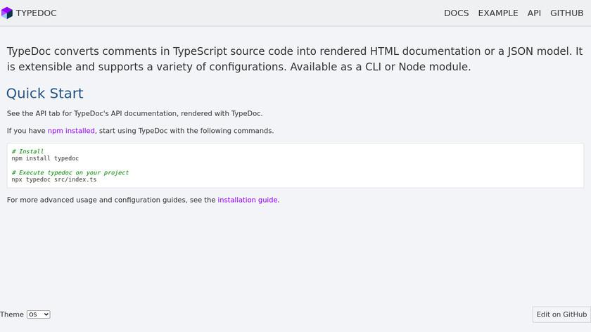 TypeDoc Landing Page