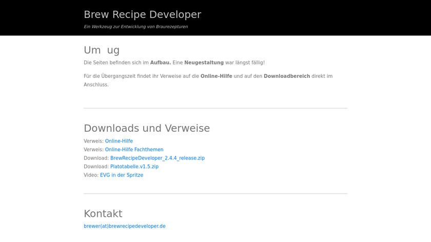 Brew Recipe Developer Landing Page