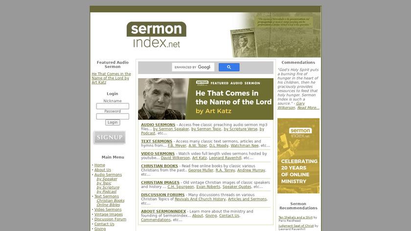 SermonIndex Landing Page