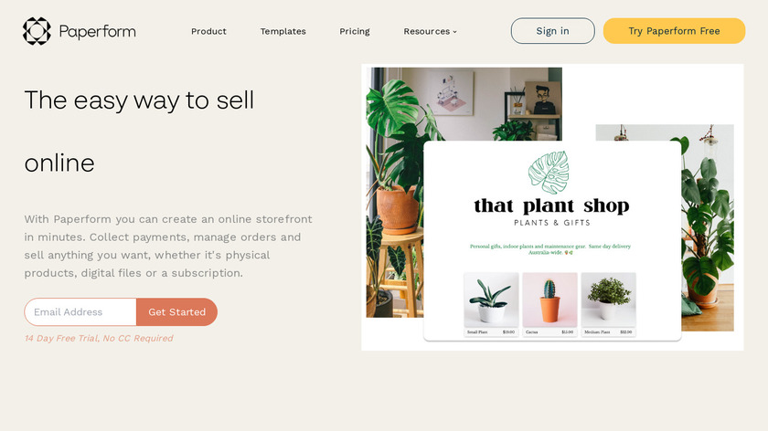 Paperform for eCommerce Landing Page