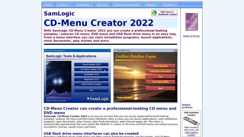 SamLogic CD-Menu Creator Landing Page