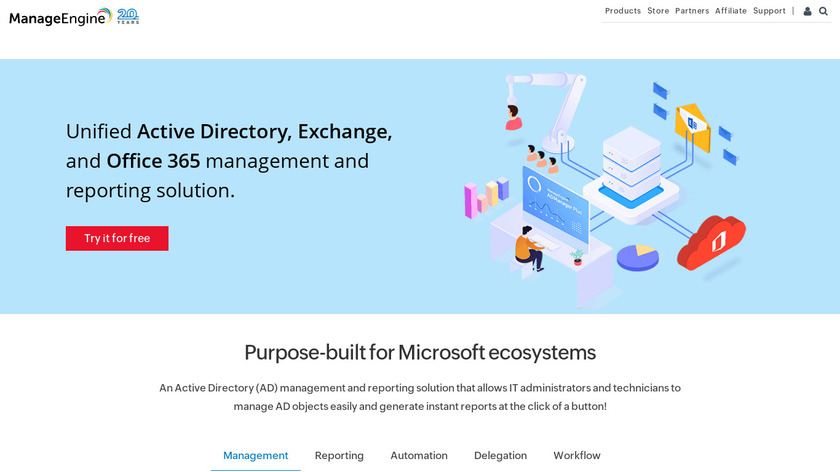 ManageEngine ADManager Plus Landing Page