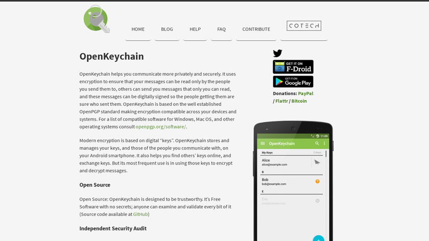 OpenKeychain Landing Page