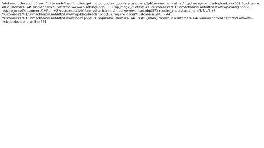 Unmechanical Landing Page
