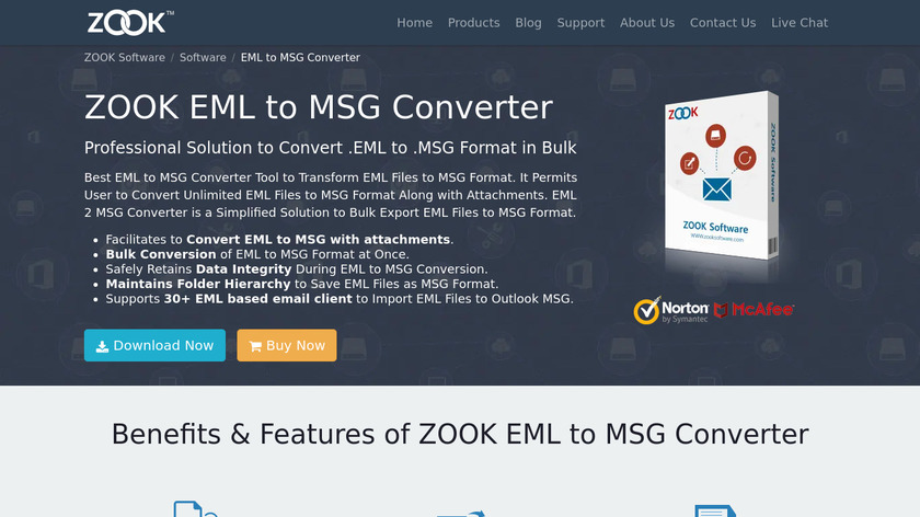 ZOOK EML to MSG Converter Landing Page