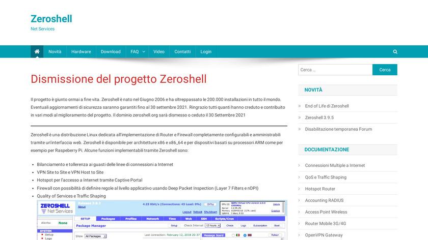 ZeroShell Landing Page