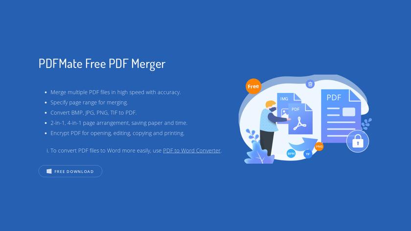 PDFMate Free PDF Merger Landing Page