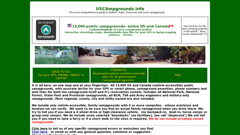 USCAmpgrounds.info Landing Page