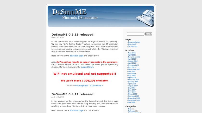 DeSmuME Landing Page