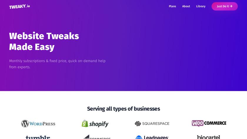Tweaky.io Landing Page