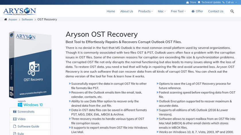 Aryson OST Recovery Landing Page