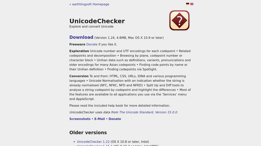 UnicodeChecker Landing Page
