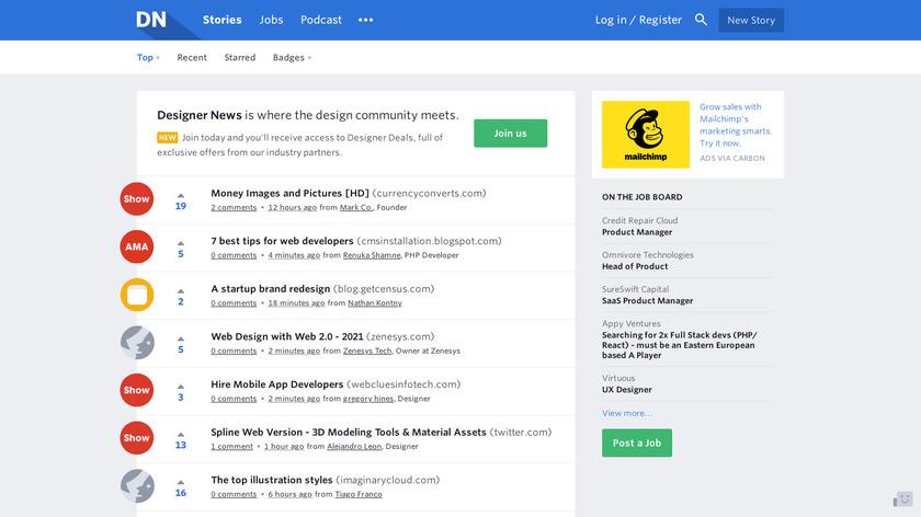 Designer News Landing Page