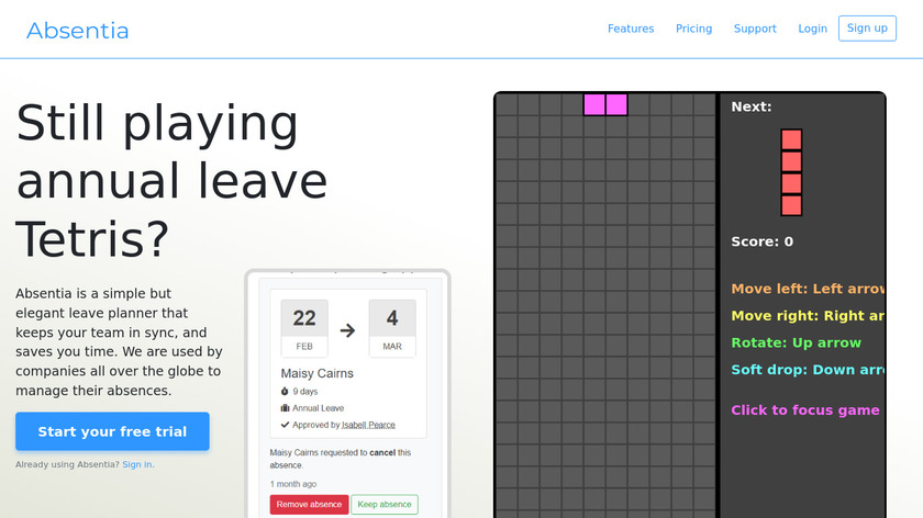 Absentia Landing Page