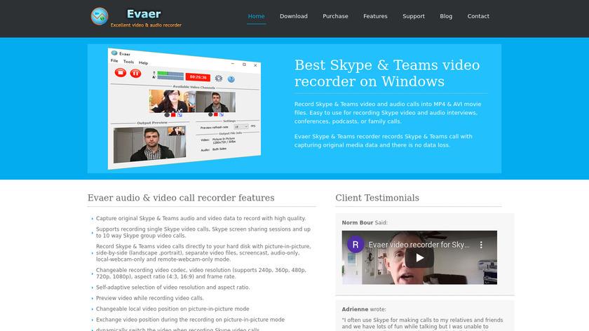 Evaer Skype Video Recorder Landing Page