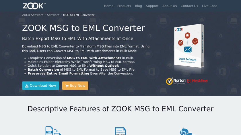 ZOOK MSG to EML Converter Landing Page
