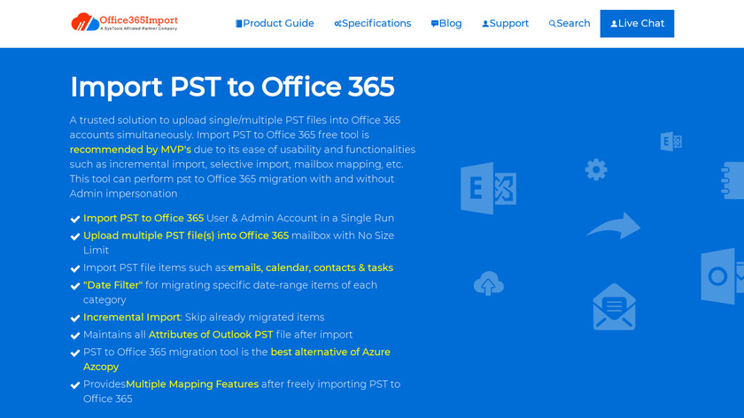 Office 365 PST Import Tool Landing Page