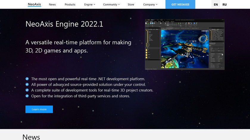 NeoAxis 3D Engine Landing Page