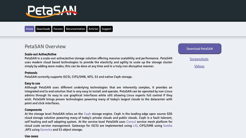 PetaSAN Landing Page