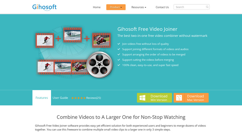 Gihosoft Free Video Joiner Landing Page