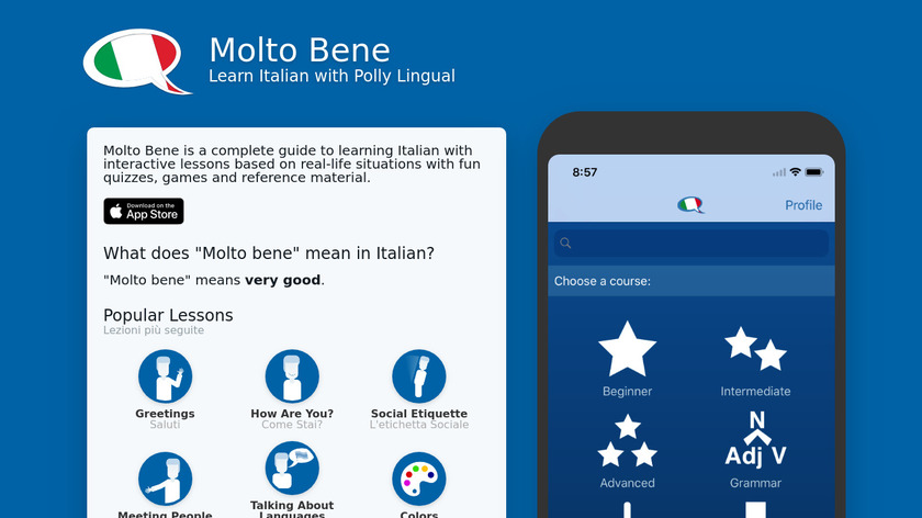 Learn Italian - Molto Bene Landing Page