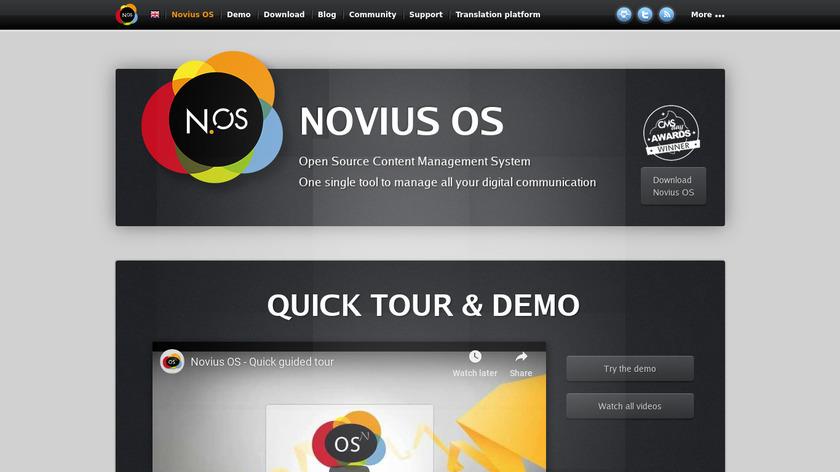 Novius OS Landing Page