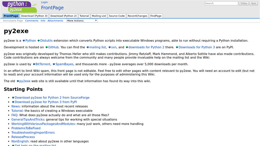 py2exe Landing Page