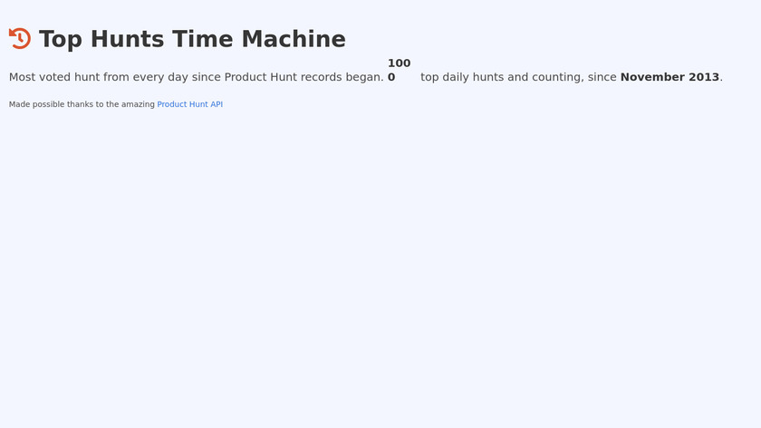 Top Hunts Time Machine Landing Page