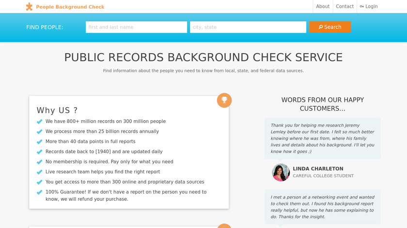 People Background Check Landing Page