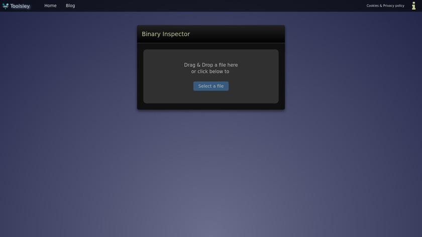 Toolsley Binary Inspector Landing Page