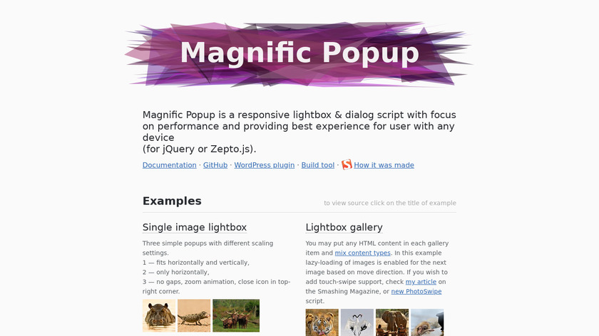 Magnific Popup Landing Page