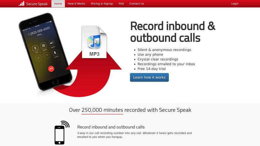 Secure Speak Landing Page