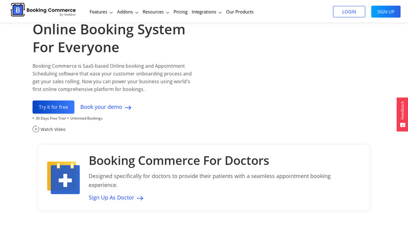 Booking Commerce Landing Page