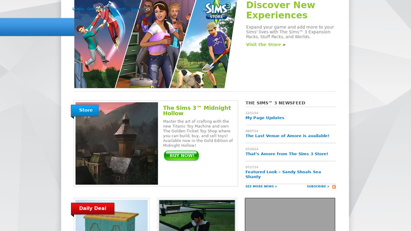 The Sims Landing Page