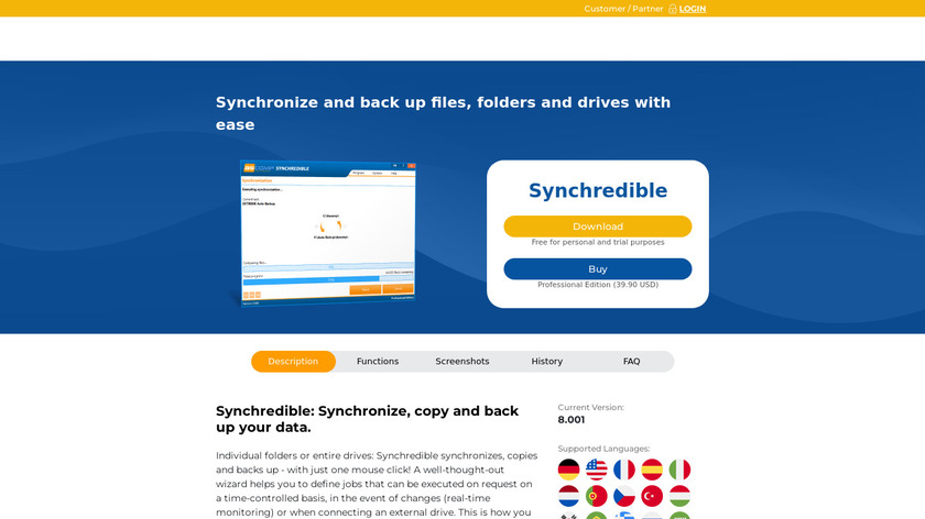 Synchredible Landing Page