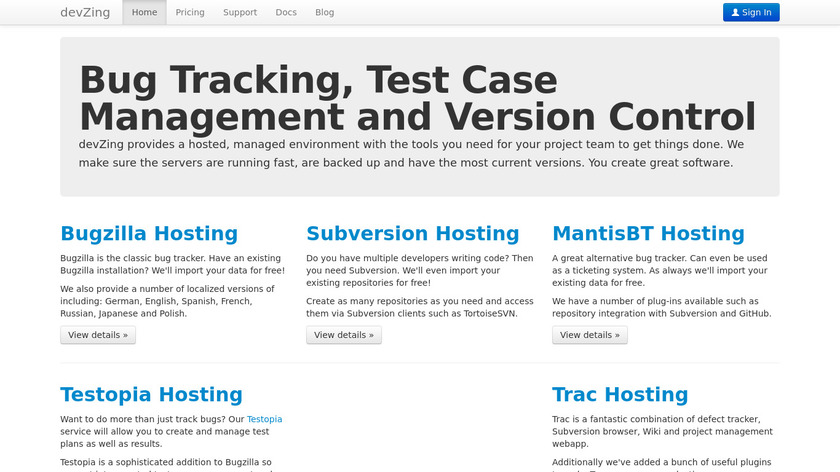 devZing Landing Page