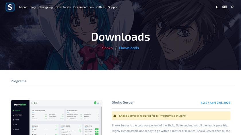 Shoko Server Landing Page