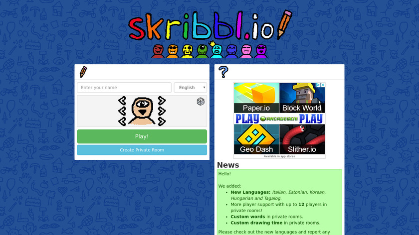skribbl Landing Page