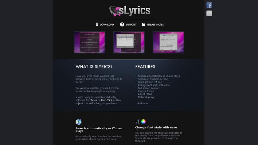 sLyrics Landing Page