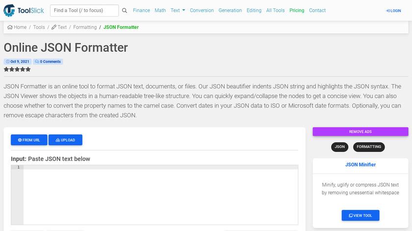 Tool Slick JSON Formatter Landing Page
