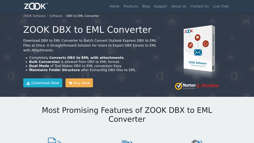 ZOOK DBX to EML Converter Landing Page