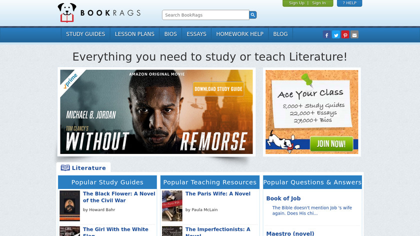 BookRags Landing Page